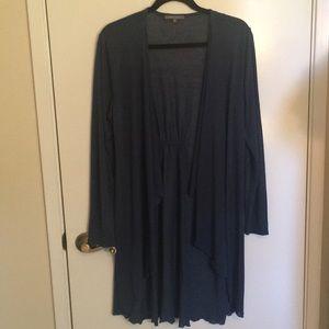 Dusty Blue long open front cardigan
